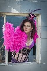 Saloon Girl Gone Bad-12 (eriknorderphotography) Tags: pink newzealand christchurch outdoors flash feathers burlesqueperformer sony70200f28g sonyalpha550
