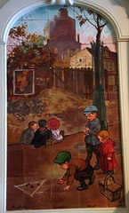 Ceramics by Francisque Poulbot in former Damrmont bath (1910) - 6 (Sokleine) Tags: street autumn paris france fall faence automne children ceramics games montmartre tiles enfants 75018 streetscenes tableaux cramique jeux bellepoque poulbot