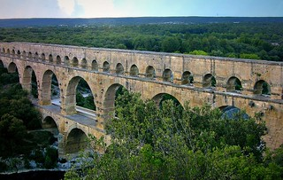 FRANCE - Provence , röm. Aquädukt  Pont du Gard, Blick von oben, 12536/4888