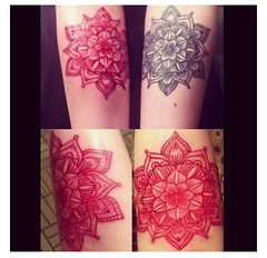 red and black matching mandalas