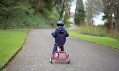Speedy (Chi Bellami) Tags: park family colour slr film 35mm nikon oliver path tricycle scan ollie negative ventnor scanned fujifilm trike f80 gardenparty c200 fujicolor c41 chibellami