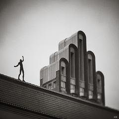 Walking the line (*altglas*) Tags: roof bw 6x6 film architecture analog mediumformat artnouveau architektur acrobat rodinal dach darmstadt jugendstil mathildenhöhe hochzeitsturm fomapan100 akrobat mittelformat walkingtheline zenzabronica ectl seiltänzer skancheli kipronar22180