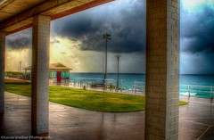 Hiding From The Rain (Kev Walker ¦ From Manchester) Tags: sea sky sun beach rain weather clouds newcastle australia nsw hdr merewether 2015 kevinwalker
