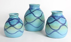 Ocean Strip Collection (anczelowitz) Tags: new blue white color home ceramic table thailand design handmade craft vessel glaze clay american thai craig vase pottery decor tabletop anczelowitz