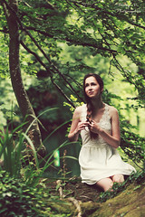 Softness (Batrice Dordain) Tags: photographie photography portrait photo portraiture women whitedress fille femme fort female forest feuillage feuille femalephotographer feuilles femaleportrait fairy fairytail frique