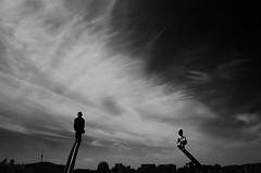 Hoffnung (Russell Siu) Tags: street light sky bw cloud dog white man black hope korea desire seoul figure hoffnung