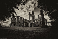 The haunted house on the hill (Anthony Plancherel) Tags: uk greatbritain travel trees windows england sky blackandwhite bw house brick english home monochrome grass architecture clouds daisies rural canon skeleton outside countryside blackwhite ruins unitedkingdom britain outdoor decay 17thcentury country lawn ruin bedfordshire surreal places historic haunted british haunting statelyhome ghostly category derelict lattice brickwork external rundown manorhouse whiteandblack whiteclouds huntinglodge sigma1020mm ampthill travelphotography houghtonhouse architecturephotography canon70d