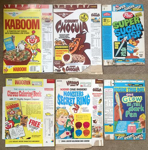 Vintage Kaboom Super Sugar Crisp Count Chocula Cereal Boxes
