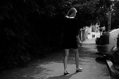 (nVa17) Tags: woman girl stranger strangers walk walking black womaninblack shadow perm          53mm fujifilmru street streetphoto streetphotography blackandwhitephotography blackwhite blackandwhite bnw bw