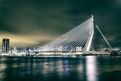 Rotterdam by Night (QF-Images) Tags: rotterdam city cityscape night bridge water erasmusbrug long exposure color canon photographer photography photo architecture brug sluitertijd fotografie foto kleur light lights licht