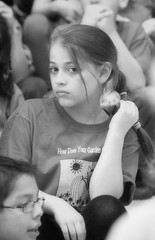 2016-04-07 (146) Fred D ES 2nd grade show (How Does Your Garden Grow) afternoon (JLeeFleenor) Tags: photos photography virginia va leesburg loudouncounty frederickdouglass elementaryschool twins inside indoors youthactivities youth skit bw blackwhite monochrome