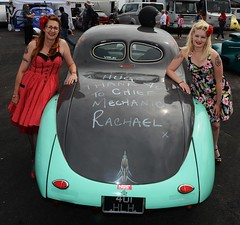 Rachael & Melanie_7032 (Fast an' Bulbous) Tags: girl girls woman women hot sexy chick babe dress high heels stilettos car vehicle willys hotrod pinup drag race santa pod england people outdoor