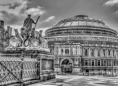 Royal Albert (beelzebub2011) Tags: uk england london royalalberthall bw monochrome statues sculpture artwork