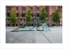 Four trees and a triangle (andyrousephotography) Tags: spinningfields manchester deansgate trees johnrylands library australasia glass triangle underground cuttingedge ipad menu winelist security chase canon eos 5d mkiii