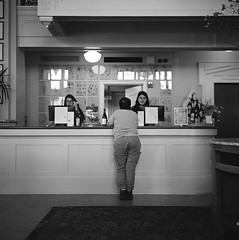The lobby (ASHLANDJET) Tags: film rolleiflex 35e planar ilford xp2 mediumformat 120 analog blackandwhite monochrome ashland oregon ashlandspringshotel hotel lobby vintagecamera tlr square 6x6