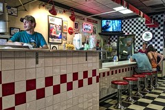 """""""Hey Billy Ray, fix me a double order of . . . (NC Cigany) Tags: joint food diner raleigh nc hotdogs men women signs counter beer cocacola restaurant color hangover iphone northcarolina"""