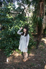 Contentment Is Like A Bunny. (emotiroi auranaut) Tags: girl woman lady pretty lovely beauty beautiful gorgeous nice walk walking nature park trees bunny rabbit point pointing asia asian japan japanese tokyo shinjuku