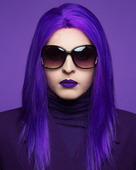Violet (UnknownChese) Tags: portrait rainbow lgbtq androgyny man woman red orange yellow green blue violet purple portraitphotography studio flash self wig