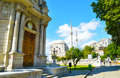 Dolmabahe Palace (mrjoshstewart) Tags: turkey palace dolmabahe mosque clock tower architecture buildings historic history old colorful sky blue clouds green trees religion steps road wooden door hd highdef bright sunny amazing perspective
