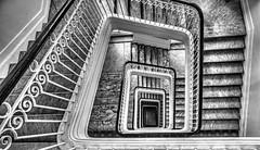STAIRWAY (Scott Scheel) Tags: stairway stairwell hotel fireescape abstract blackandwhite architecture