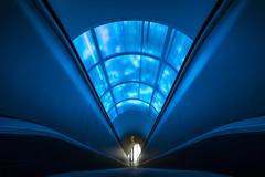 blue escalator (Blende1.8) Tags: escalator rolltreppe blau blue illumination licht farbe light color autostadt wolfsburg architektur architecture modern contemporary sony alpha ilce7m2 a7m2 a7ii zeiss variotessar16354za wideangle 1635mm carstenheyer
