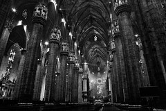 Duomo di Milano 2 (musca78) Tags: bw blackwhite architettura architecture duomo church cathedral milano milan italia italy colonna column lombardy mi lombardia europa europe building monument monumento luce light