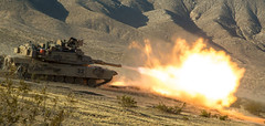 Abrams Fires (pao3abct) Tags: 3rdarmoredbrigadecombatteam 3abct 4thinfantrydivision 4id 410cav 166armorregiment 168armor abrams tank bradley ntc national training center fortirwin nationaltrainingcenter army fortcarson