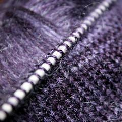 knit row (overthemoon) Tags: knitting wool yarn purple needle stitches pointjersey plainside macro macromondays row square tricot rang