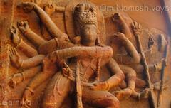 Nataraj, the cosmic dancer !!! ( @ Badami ) (Ezhil Ramalingam) Tags: badami basrelief 6thcentury nataraj bhattacharya vatapi badamicaves chalukyadynasty 18armed caveno1 gairika