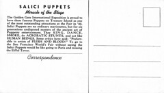 Salici Puppets (jericl cat) Tags: show sanfrancisco history golden hall gate treasureisland expo puppet miracle stage postcard fair ephemera souvenir entertainment international exposition puppets worlds 1939 marionettes marionette westernstates salici salicis