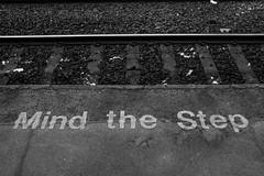 mind the step (Chilanga Cement) Tags: fuji fujix100t fujixt1 x100t xseries x100s x100 bw blackandwhite monochrome train railway mindthestrp sleepers sleeper
