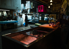 Tsukiji fish market, Kanto region, Tokyo, Japan (Eric Lafforgue) Tags: 2people adultsonly asia asian asianculture asianfood bridge business capitalcity colourpicture commercial destination economy famousplace fish fishes fishing fishingindustry food foodindustry fresh freshness horizontal indoors industry interior japan japan161194 japanese japaneseculture japanesefood market markets men merchandise people seafood sell selling stall sushi tokyo trade tsukiji tuna wholesale working workingenvironment kantoregion giappone   japo japonia japonsko japonya jepang jepun  oo