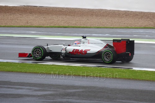 Romain Grosjean racing for Haas in the 2016 British Grand Prix