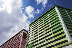 Primary Colours (dm4n) Tags: singapore colour rochor hdb red green blue clouds apartments