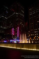 Radio City Music Hall, New York (NativePaul) Tags: city nyc newyorkcity longexposure usa newyork water fountain america evening us unitedstates nighttime radiocitymusichall slowexposure midtownmanhattan