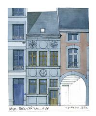 Lige, 64, Hors-Chateau (gerard michel) Tags: architecture sketch belgium aquarelle watercolour lige croquis lvation horschteau