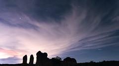 catch a falling star ... (lunaryuna) Tags: england surrey farnham waverleyabbeyruins night nightphotography nightsky starrynight cloudcover shootingstar sky clouds ruins silhouettes meteor nocturnalphotography le longexposure lunaryuna
