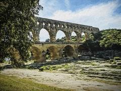Digital Painting in the style of Edward Hopper of the Pont du Gard near Nimes, France (mharrsch) Tags: aqueduct bridge pontdugard gardonriver france gaul roman architecture engineering limestone unesco ancient nmes mharrsch