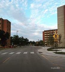 Explore KU: Three Milestones on Daisy Hill (The University of Kansas Official Flickr Site) Tags: universityofkansas kucampus exploreku thehill daisyhill campuslife residencehalls crosswalk bluesky clouds lawrenceksusa