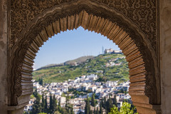 a regal vista towards Granada - HWW! (lunaryuna) Tags: spain southernspain andalusia granada alhambra palace moorisharchitecture window vsta hills urbanlandscape arabesques beautyofdesign windowswednesday historiclandmarks lunaryuna