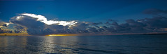 Costal Panoramic (ChefeGrande) Tags: panoramicview woodpier fishingpier fishingboat shrimpboats clouds sunrise storm reflection water outdoor coastal seashore silhouette landscape