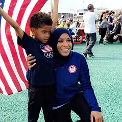 Former Duke fencer Ibtihaj Muhammad became the first Blue Devil to medal at the 2016 Olympic Games, claiming bronze with Team USA in the womens team sabre competition Saturday at the Carioca Arena 3 in Rio. Muhammad and teammates Monica Aksamit, Dagmara (Duke University) Tags: ifttt instagram duke university