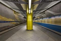 The train now leaving Grosshadern..... (sarah_presh) Tags: train station metro underground munich germany motion speed le nikond750 nikon1635mm