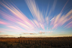 Vault Road Sunset (Matt Molloy) Tags: mattmolloy timelaspse photography timestack photostack movement motion sunset colourful clouds sky moon streaks powerlines corn field grass violet ontario canada landscape lovelife