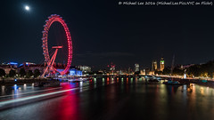 Moon and the Eye (DSC00324-Edit) (Michael.Lee.Pics.NYC) Tags: london england unitedkingdom londoneye thamesriver parliament palaceofwestminster bigben clocktower jubileebridge night moon longexposure lighttrail boat southbank sony a7rm2 fe2470mmgm