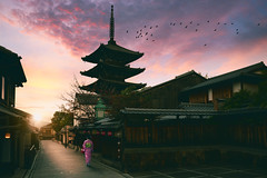 Sannen Zaka Street (Patrick Foto ;)) Tags: ancient architecture asia buddhism building city cityscape culture dawn female gion higashiyama hokanji illuminated japan japanese kansai kimono kyoto kyotobu kyotoshi landmark lights morning old pagoda people region religious sannen shinto shrine sky street temple tourism tower town tradition traditional travel twilight urban vintage walk woman wooden yasaka zaka zen