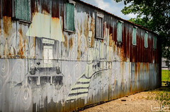 _DSC1637-Edit (SouthernPhotos@outlook.com) Tags: larrybell larebell larebel southernphotosoutlookcom waynesboro waynecounty mississippi tinroof metalroof trainmural