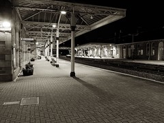 Dumfries Railway Station on cold spring night (penlea1954) Tags: road bw white black castle lines port branch cut glasgow south main railway junction line valley western axe douglas ayr carlisle kilmarnock portpatrick cairn caledonian dumfries galloway stranraer lockerbie gswr moniaive beeching gdcr