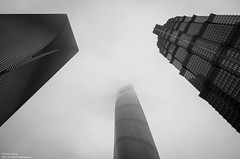 Lujiazui Skyscrapers /  (Andy Qiang) Tags: leica blackandwhite bw architecture skyscraper shanghai    jinmaotower  lujiazui 2015 swfc  shanghaitower shanghaiworldfinancialcenter     typ113  leicax