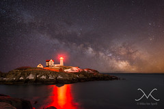 Nubble Light At Night (Mike Ver Sprill - Milky Way Mike) Tags: ocean light red sky panorama lighthouse house seascape mike me water beautiful night dark way stars landscape island star michael amazing nikon rocks long exposure photographer pano awesome maine nj best atlantic clear galaxy astrophotography cape astronomy universe milky tracker stitched cosmos mv ver d800 neddick nubble 1424 sprill ioptron versprill milkywaymike